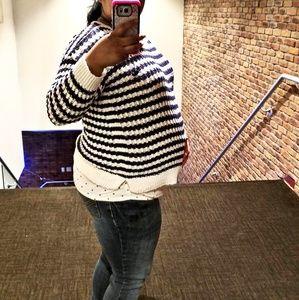 Blue and white stripe Motherhood Maternity Sweater